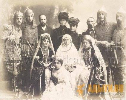 """Участники """"Черкесского вечера"""" в Екатеринодаре. 1908год. Фото из коллекции Кунсткамеры."""