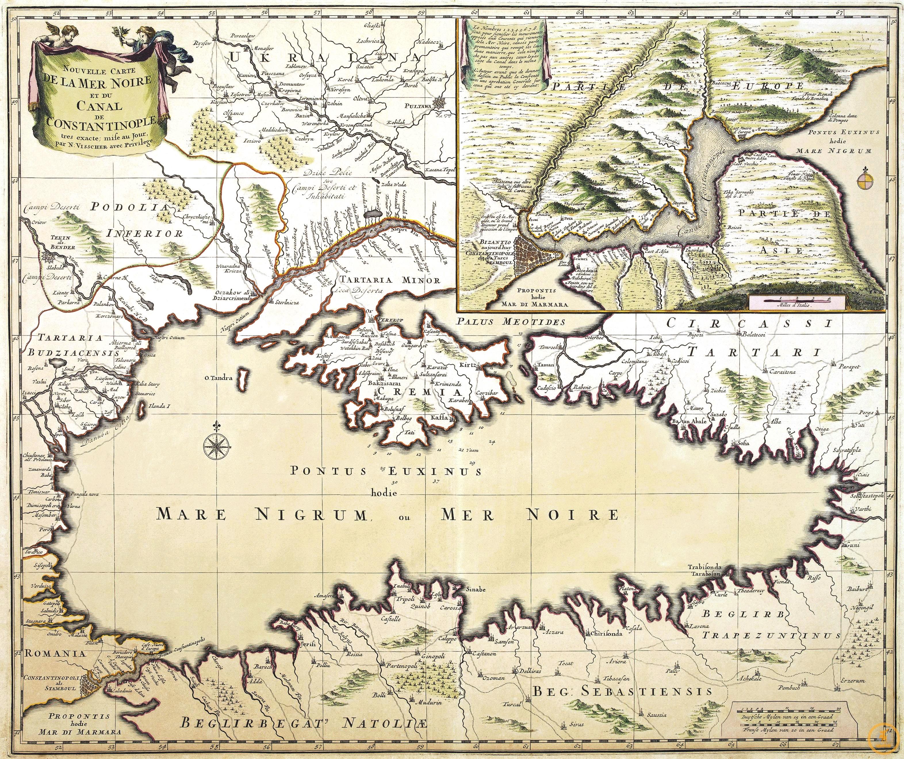 Вишер Н. Новая карта Черного моря и Константинопольского пролива, 1680 г.