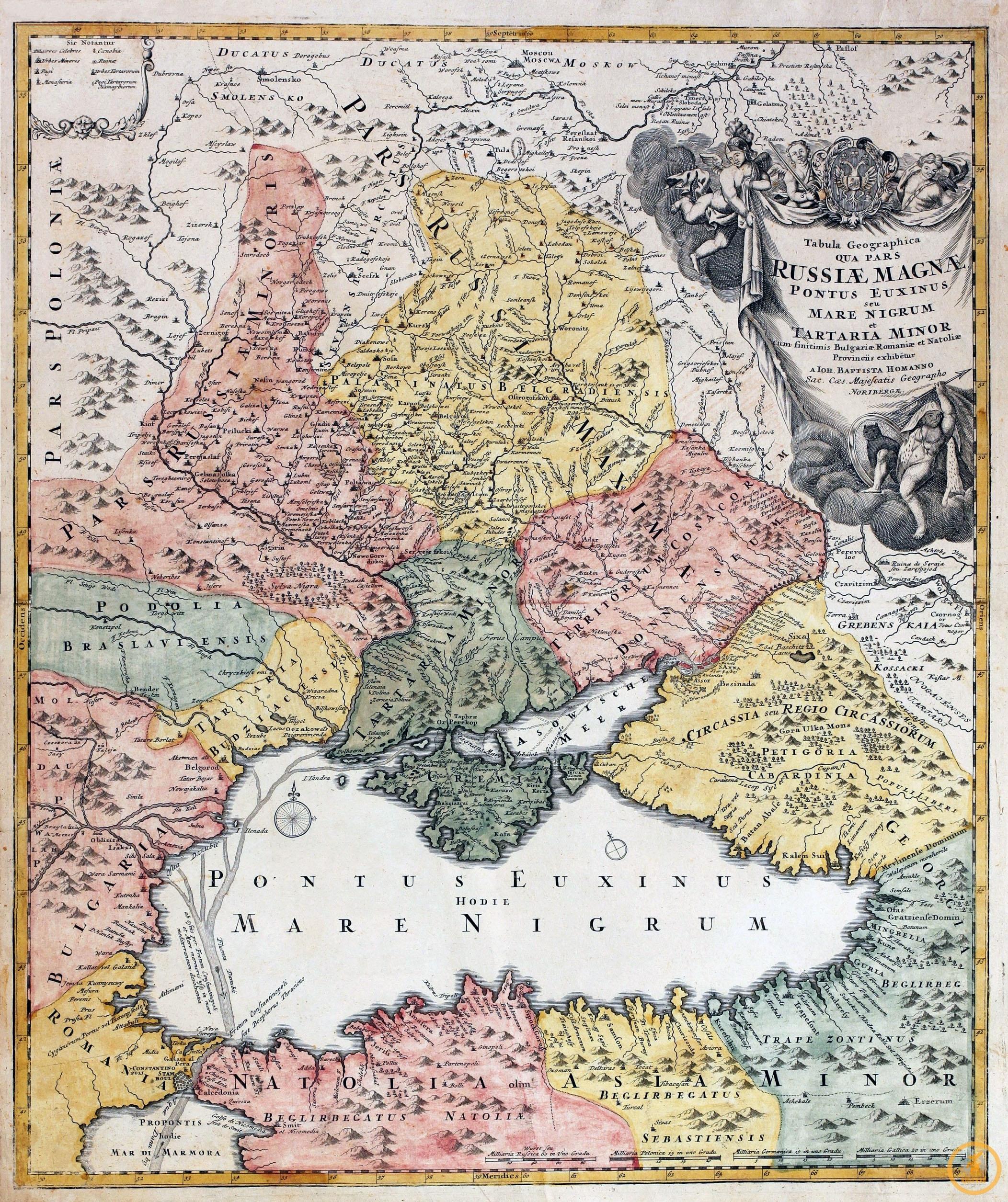 Хоманн Иоганн Батист (1664-1724). Карта Великой России, Черного моря и Малой Татарии.  Нюрнберг, 1723 г.