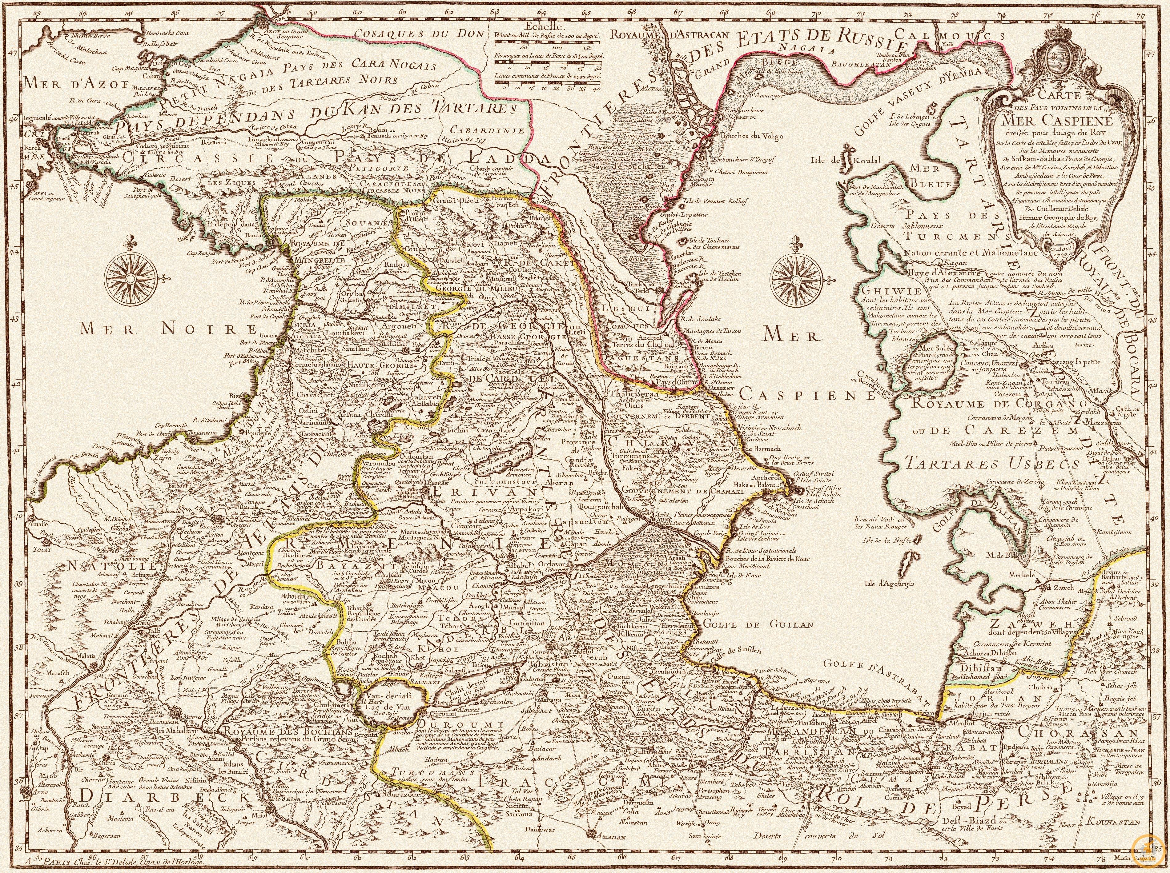 Лиль Гильом де. Страны, лежащие вокруг Каспийского моря, 1723 г.