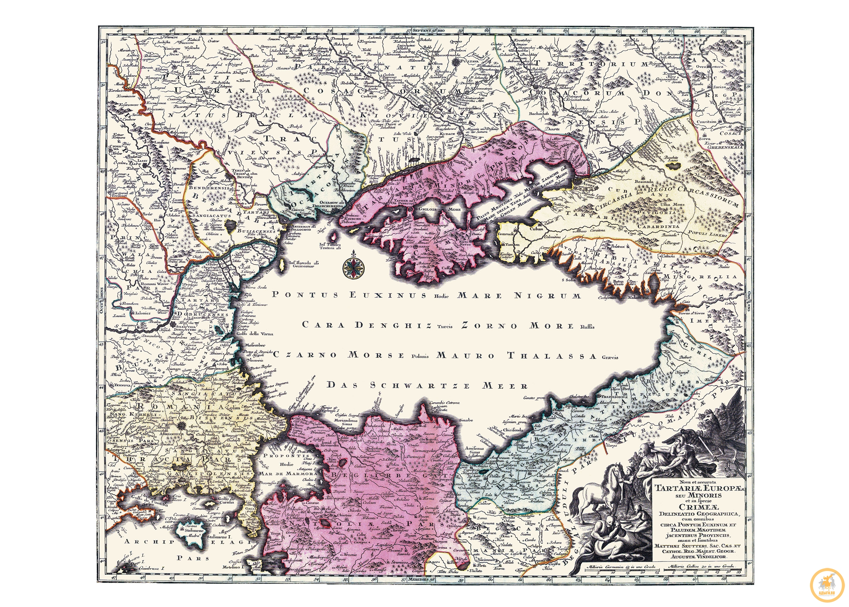 Карта Маттеи Сеуттери (1678 - 1757) «Европейская Тартария»