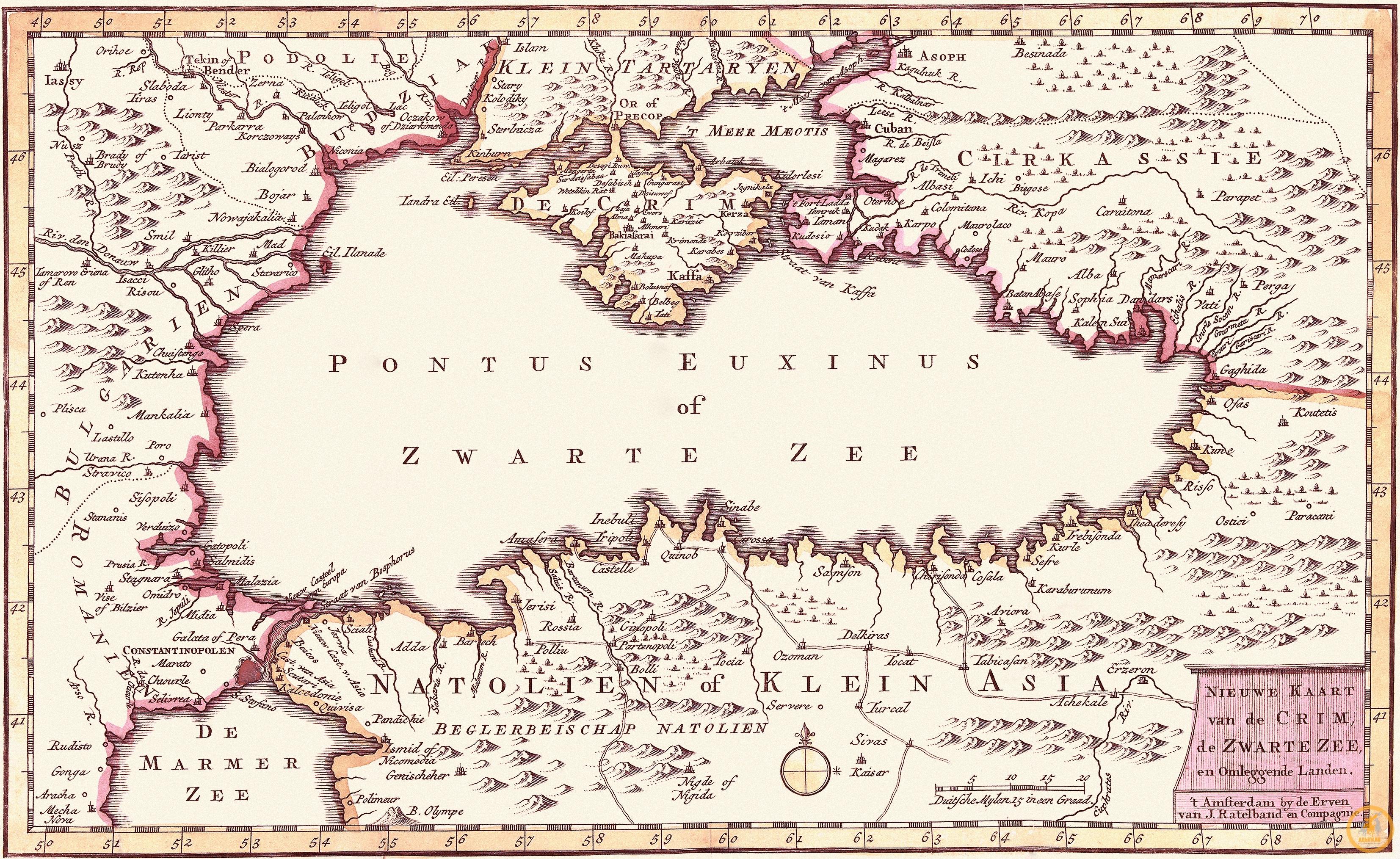 Эрвен ван Й. Рательбанд. Новая карта Крыма, Черного моря и окружающих земель. Амстердам, 1735 г.