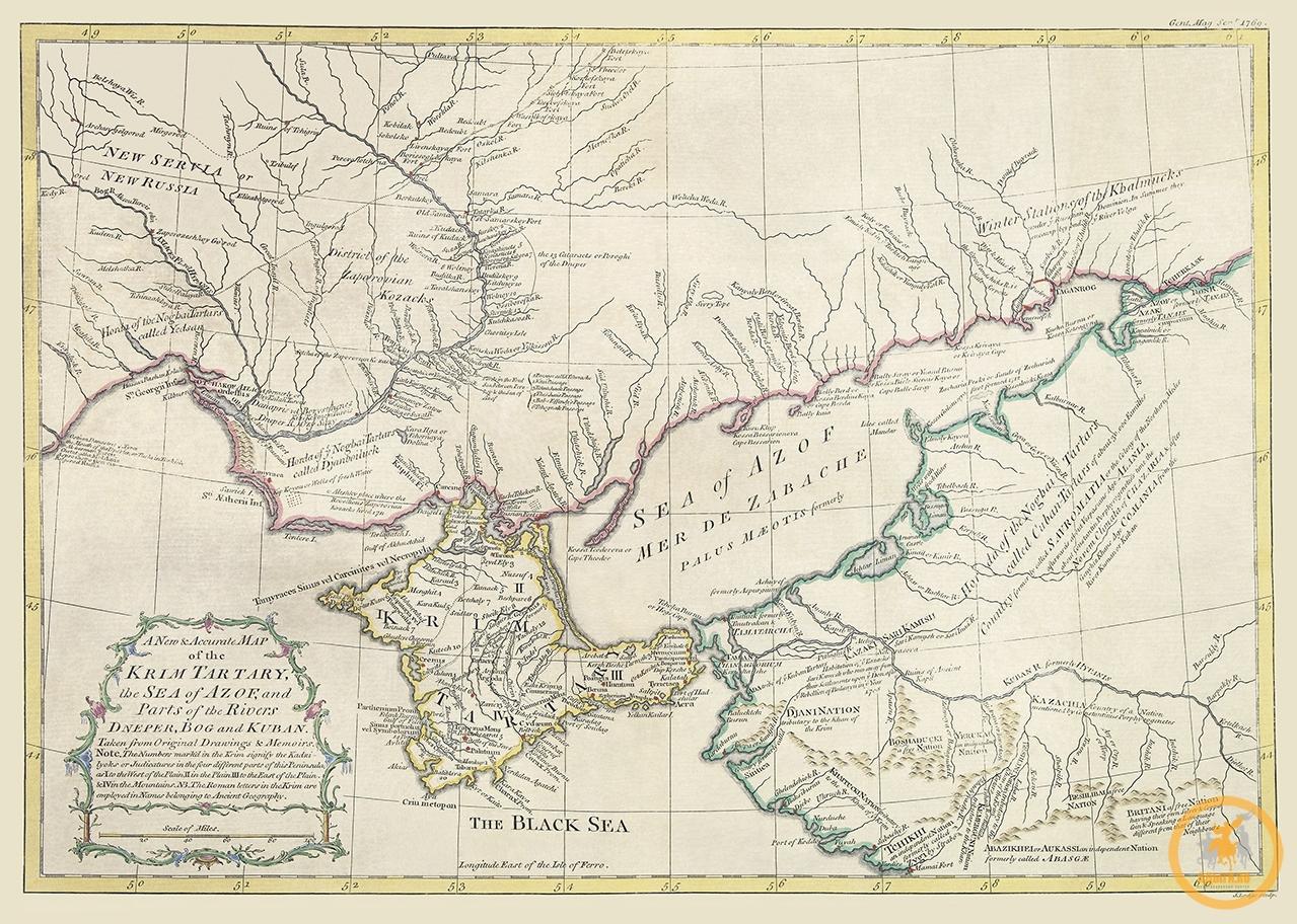 Новая и точная карта Крымской Татарии, Азовского моря и частей рек Днепр, Буг и Кубань. 1769 г.