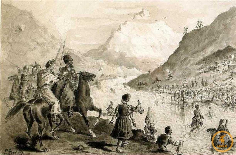 Горцам русский царь разрешил торговать всем кроме оружия и золота.